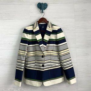 Tommy Hilfiger Navy Cream Striped Long Blazer